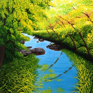 (CreativeWork) A Summer's Day by Trevor Brown. oil-painting. Shop online at Bluethumb.