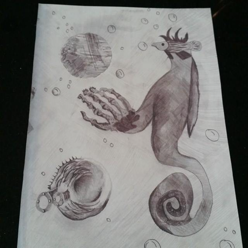 (CreativeWork) Mysteries under the sea by Karen Forrest. drawing. Shop online at Bluethumb.
