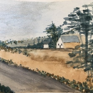 (CreativeWork) The road past by Yelena G. watercolour. Shop online at Bluethumb.