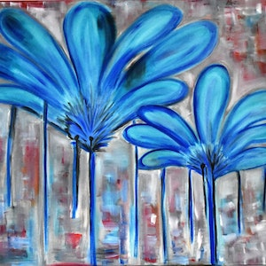 (CreativeWork) BLUE FLOWERS by jayana Dadallage. oil-painting. Shop online at Bluethumb.
