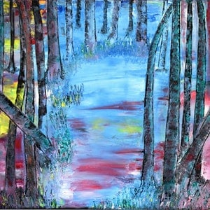 (CreativeWork) THE CURIOUS CREEK by jayana Dadallage. oil-painting. Shop online at Bluethumb.