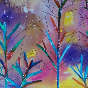 (CreativeWork) Enchanted wishing trees by Meredith Dixon. mixed-media. Shop online at Bluethumb.