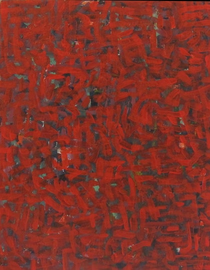 (CreativeWork) Red Colourfield by Jessica Knight Locke. arcylic-painting. Shop online at Bluethumb.
