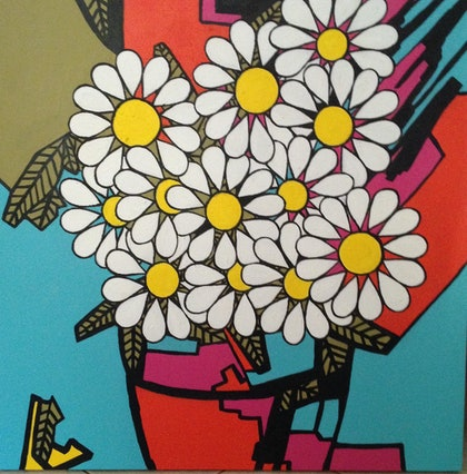 (CreativeWork) Daisies by Maria Dee. arcylic-painting. Shop online at Bluethumb.