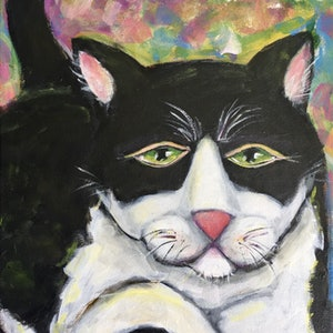 (CreativeWork) Cat by Wendy Pepyat. arcylic-painting. Shop online at Bluethumb.