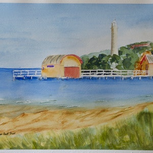 (CreativeWork) Bellarine Peninsular Boatshed by Robert Vallance. watercolour. Shop online at Bluethumb.