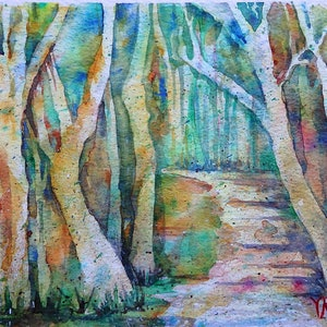 (CreativeWork) Down the Track by Vicki Reid. watercolour. Shop online at Bluethumb.