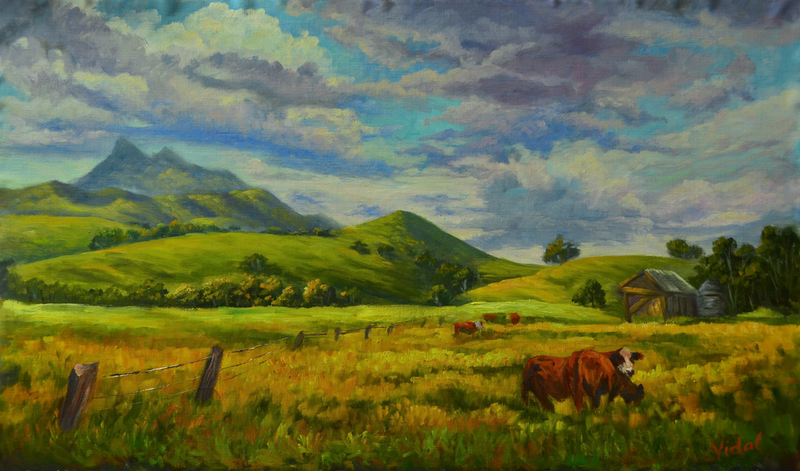 (CreativeWork) Original oil on Belgian linen of farmlands near Mount Warning, NSW by Christopher Vidal. oil-painting. Shop online at Bluethumb.