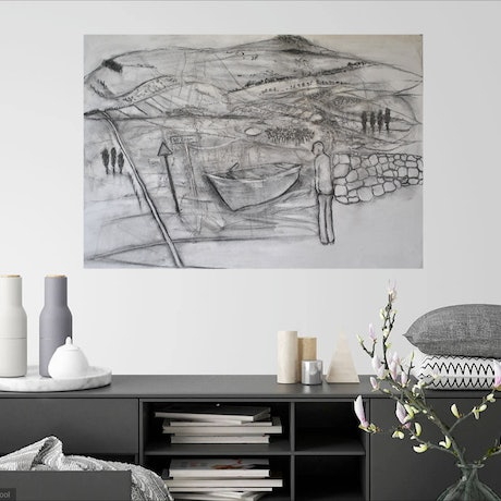 (CreativeWork) Over The Hill and Far Away  -Framed by Chris Rowe. Drawings. Shop online at Bluethumb.
