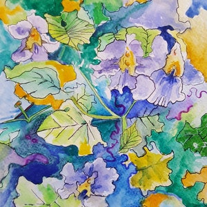 (CreativeWork) Flowering Vine by Cathy Gilday. #<Filter:0x00007f76e5cb80f0>. Shop online at Bluethumb.