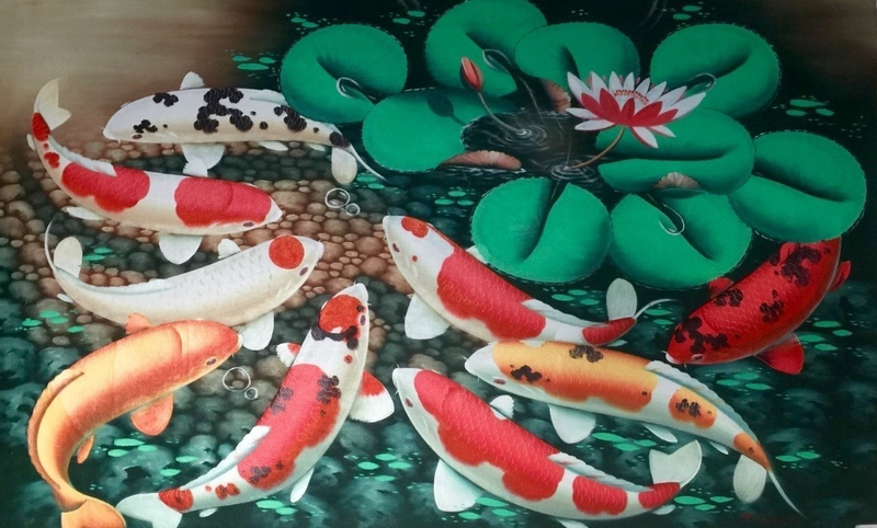 (CreativeWork) THE KOI- TROPICAL FISHES 4 by DEREK ERSKINE. oil-painting. Shop online at Bluethumb.