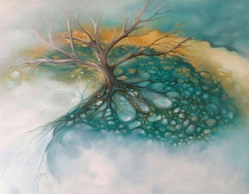 (CreativeWork) Mangrove Shade by Sue Norris. oil-painting. Shop online at Bluethumb.