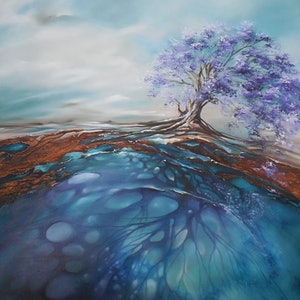 (CreativeWork) Mysteries Below by Sue Norris. oil-painting. Shop online at Bluethumb.