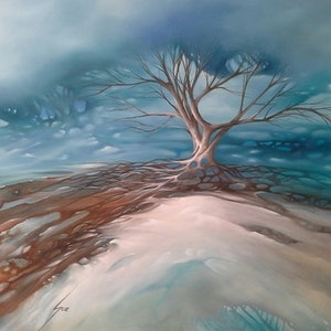 (CreativeWork) Holding the Storm by Sue Norris. oil-painting. Shop online at Bluethumb.