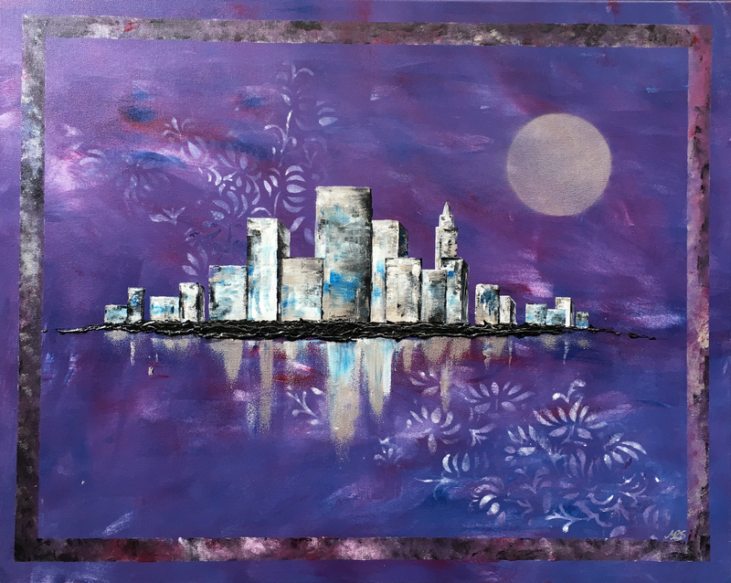 (CreativeWork) Violet City by Melanie Spehr. mixed-media. Shop online at Bluethumb.