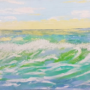 (CreativeWork) Sunset Seascape 6 by Judi Goodwin. arcylic-painting. Shop online at Bluethumb.