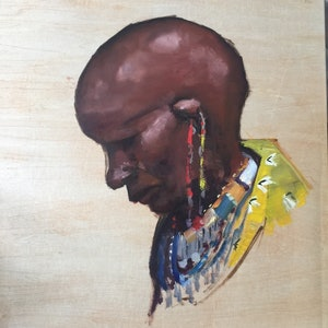 (CreativeWork) African woman  by Jane Kanizay. oil-painting. Shop online at Bluethumb.