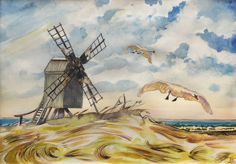 (CreativeWork) Swans over Öland- Sweden by Sandra Laroche. watercolour. Shop online at Bluethumb.