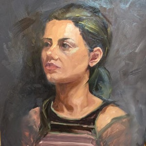 (CreativeWork) Verdiana Portrait from life by Jane Kanizay. oil-painting. Shop online at Bluethumb.