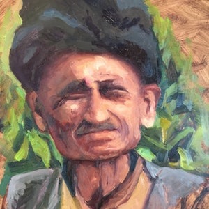 (CreativeWork) Grandfather, Dobela Village by Jane Kanizay. oil-painting. Shop online at Bluethumb.