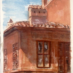 (CreativeWork) Roman terrace, near Trevi Fountain, Italy by Robert Vallance. watercolour. Shop online at Bluethumb.