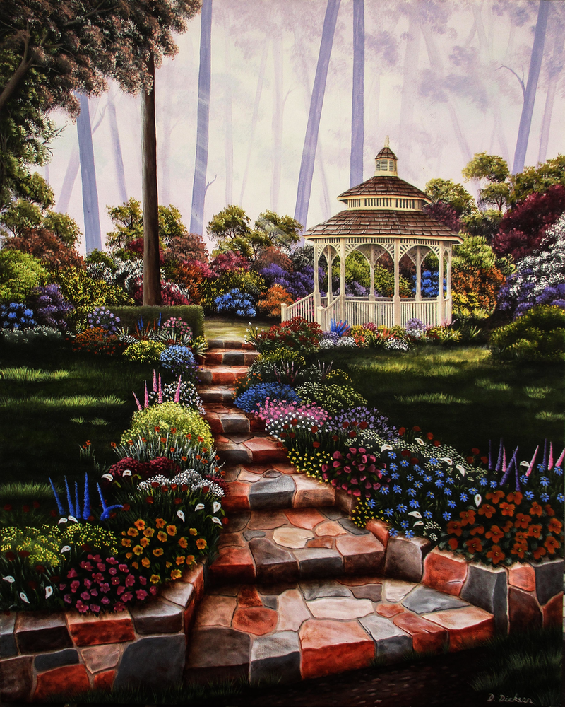 (CreativeWork) GARDEN RETREAT by Debra Dickson. arcylic-painting. Shop online at Bluethumb.