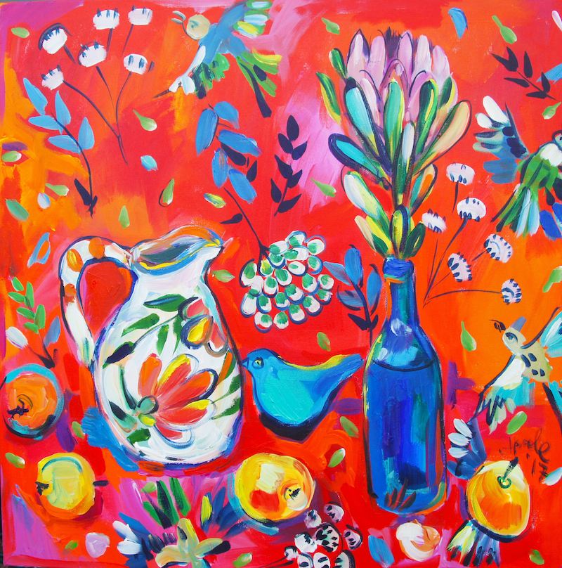 (CreativeWork) Still Life with Protea and Birds by Katerina Apale. arcylic-painting. Shop online at Bluethumb.