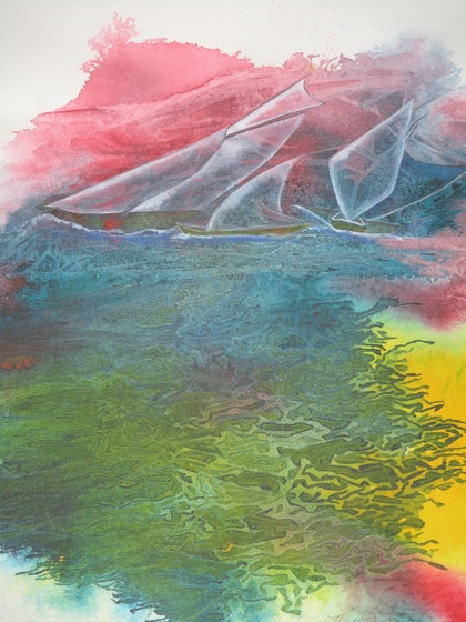 (CreativeWork) Sailing The Dream by Marty Foster. mixed-media. Shop online at Bluethumb.