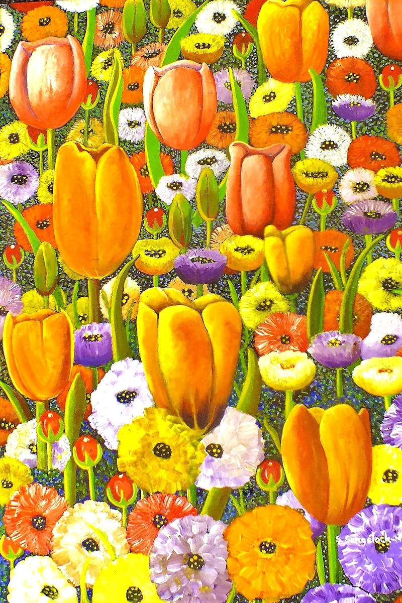 (CreativeWork) Spring Fever by Sandra Sengstock-Miller. arcylic-painting. Shop online at Bluethumb.