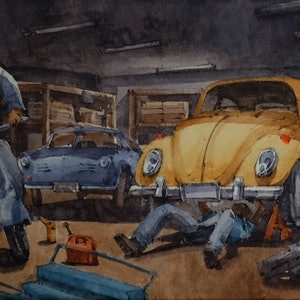 (CreativeWork) Classic cars in garage-02 .VW beetle , VW KARMANN GHIA 1968 and Vespa by Natthapol Chaiyatam. watercolour. Shop online at Bluethumb.