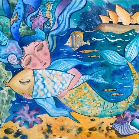 (CreativeWork) Mermaid's Dreams... by Irina Iris. Watercolour Paint. Shop online at Bluethumb.