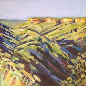 (CreativeWork) Blue Mountains by Anne Fontaine. Acrylic Paint. Shop online at Bluethumb.