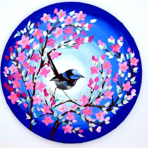 (CreativeWork) Superb Fairy Wren by Cathy Jacobs. arcylic-painting. Shop online at Bluethumb.