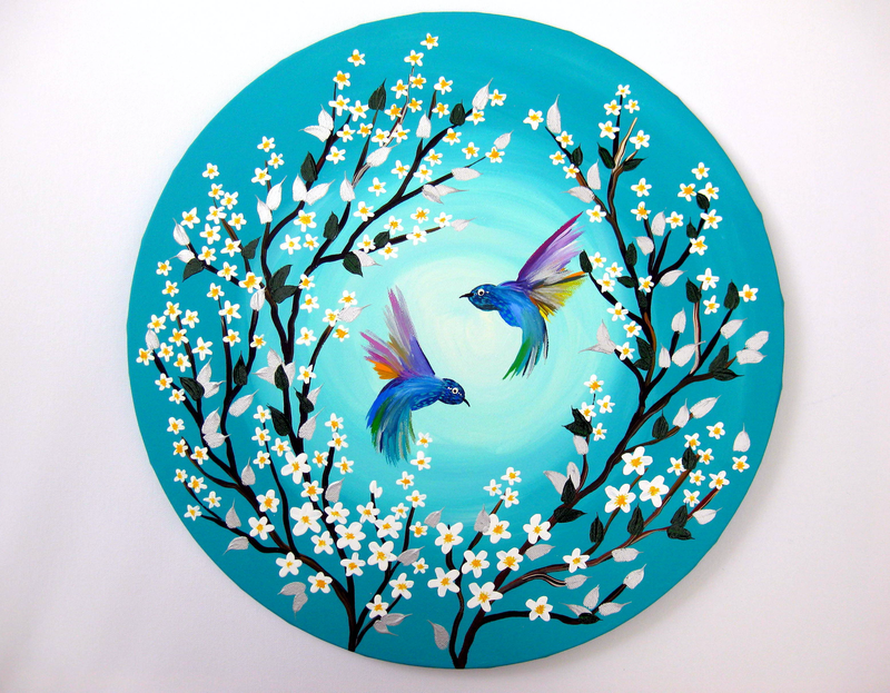 (CreativeWork) Hummingbirds and Blossom by Cathy Jacobs. arcylic-painting. Shop online at Bluethumb.