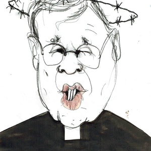 (CreativeWork) George Pell - From Hell  by John Graham. mixed-media. Shop online at Bluethumb.