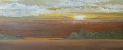 (CreativeWork) African Sunset by Elzette .. oil-painting. Shop online at Bluethumb.