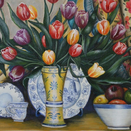 (CreativeWork) Tulips by Karin Brear. Acrylic Paint. Shop online at Bluethumb.