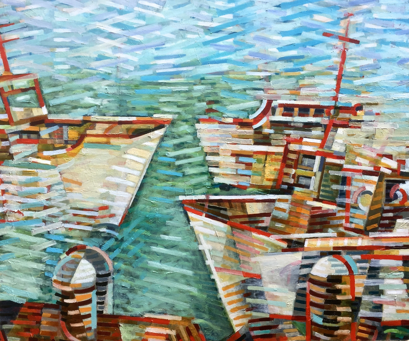 (CreativeWork) At Harbour by D.M. (David Martin) Ross. oil-painting. Shop online at Bluethumb.
