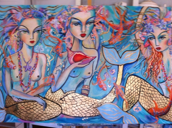 (CreativeWork) Mermaids by Marianne Ulbrick. Acrylic Paint. Shop online at Bluethumb.