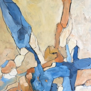 (CreativeWork) Rocks and shadows  by sue bannister. oil-painting. Shop online at Bluethumb.