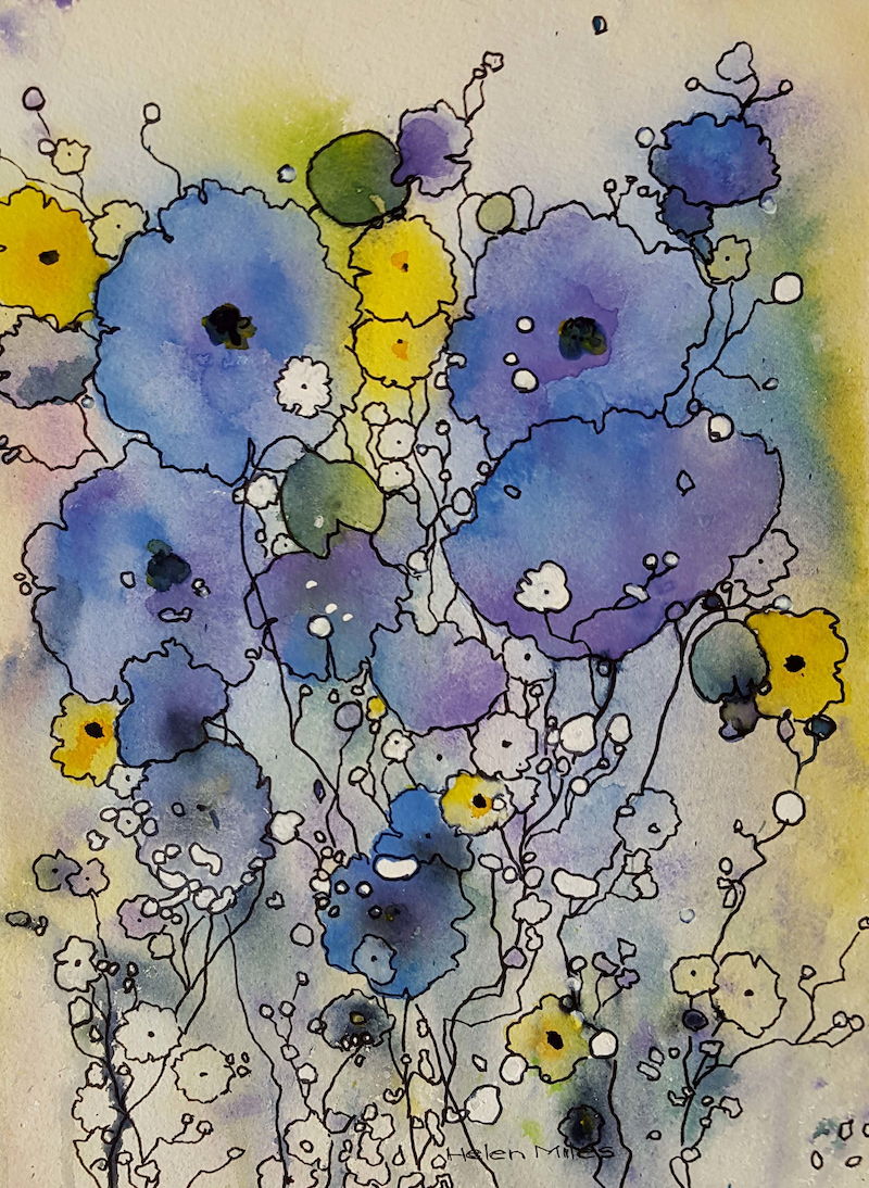 (CreativeWork) Blue Bravado by Helen Miles. watercolour. Shop online at Bluethumb.