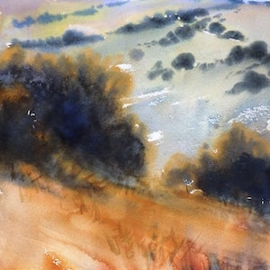 (CreativeWork) Bald Hills by Sue Lederhose. watercolour. Shop online at Bluethumb.