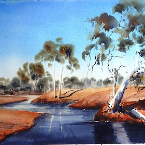 (CreativeWork) Lyons Creek, WA by Sue Lederhose. watercolour. Shop online at Bluethumb.