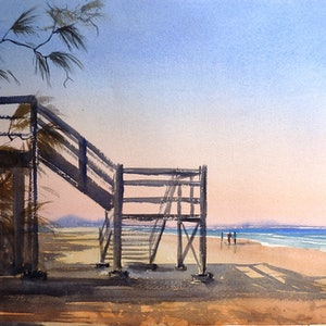 (CreativeWork) Down to the Beach by Sue Lederhose. watercolour. Shop online at Bluethumb.