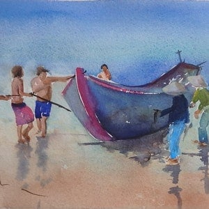 (CreativeWork) Vietnam Tug by Sue Lederhose. watercolour. Shop online at Bluethumb.