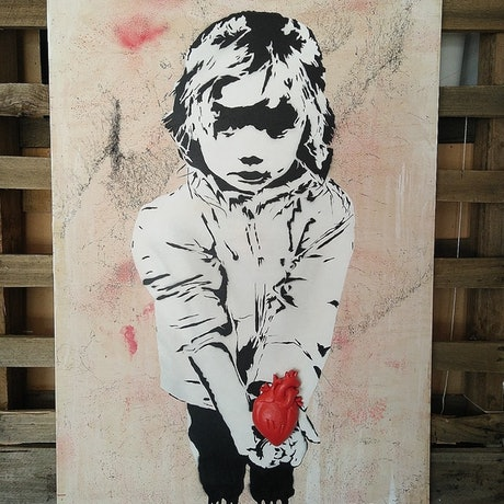(CreativeWork) Innocence of Love (red) by Camo Streetart. Mixed Media. Shop online at Bluethumb.