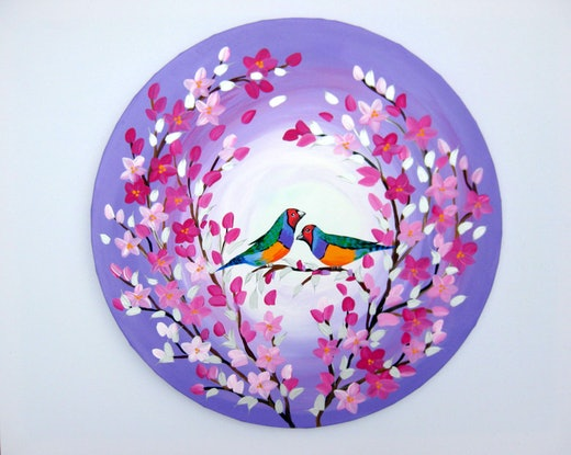 (CreativeWork) Mr Finch and Friend by Cathy Jacobs. Acrylic Paint. Shop online at Bluethumb.