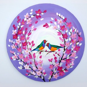 (CreativeWork) Mr Finch and Friend by Cathy Jacobs. arcylic-painting. Shop online at Bluethumb.