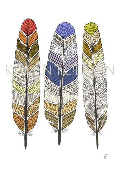 (CreativeWork) 3 Tribal Feathers by Karen Todman. mixed-media. Shop online at Bluethumb.