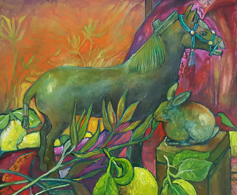 (CreativeWork) Chinese Horse by Patricia Walsh. oil-painting. Shop online at Bluethumb.